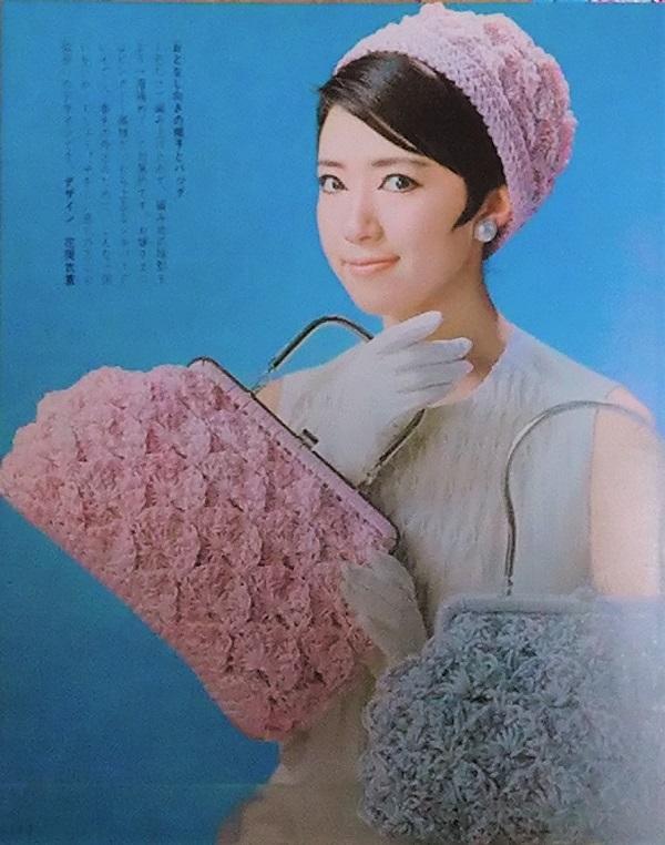 バッグ・帽子と小もの あみもの手芸 ピンクと水色のバッグ