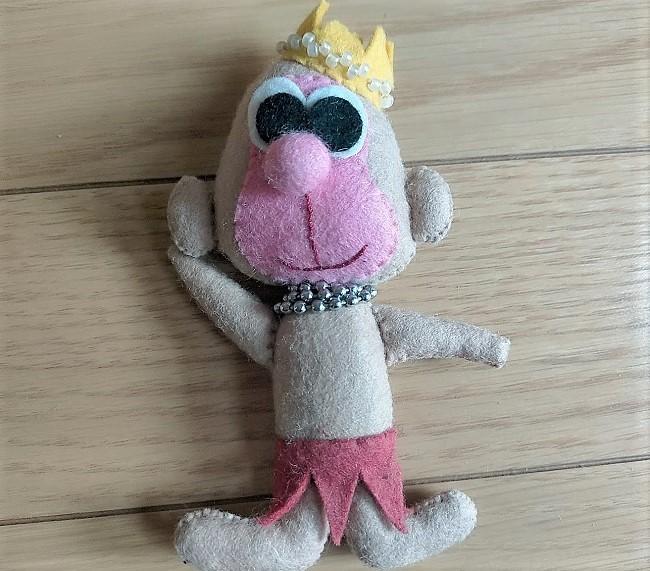 昭和 フェルト人形 猿 王冠つき